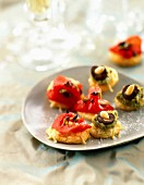 Pepper and pesto appetizers