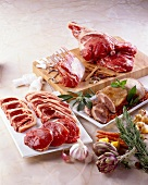 Raw lamb chops and leg of lamb