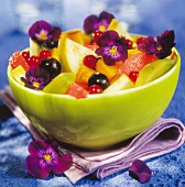 Fruit salad with violets