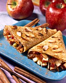 Pancake cones filled with dates and apples