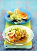 Warm potato and haddock salad, whipped curry cream