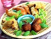 Various fried appetizers
