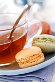 Macaroons and cup of tea