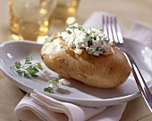 Potato stuffed with fromage frais and herbs