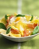 Chicory, raw ham, potato and egg salad