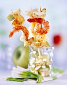 Apple, shimp and paprika skewers