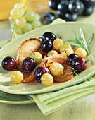 Pan-fried apples and grapes with rosemary