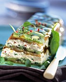 Salmon, cream cheese and kiwi terrine