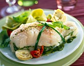 Cod stuffed with garlic and basil pistou