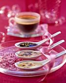Coffee, chocolate and vanilla creams