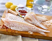 Fillets of raw fish