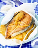 salmon, pineapple and vanilla en papillote