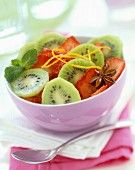 Kiwi, strawberry, mint and star anise salad