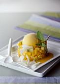 Exotic fruit tartare and mango sorbet