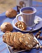 Hazelnut and raisin bread for breakfast