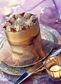 Praline and pistachio ice cream vacherin dessert