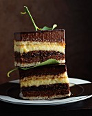 Slices of chocolate and lemon cream cake