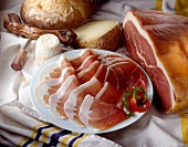 Slices of Bayonne ham