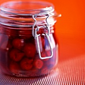 Jar of preserved cherries