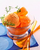 Orange sorbet with carrot sauce