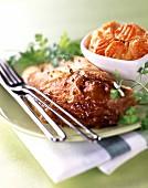 Guinea fowl and carrot gratin