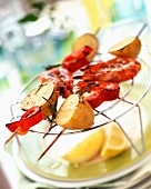 Prawn, pepper and potato kebabs