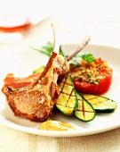 Lamb chops with grilled tomato and courgettes