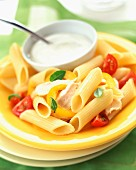 Penne pasta with chicken and white sauce