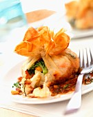 Filo pastry parcel filled with vegetables
