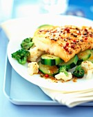 fillet of fish with peppercorns, courgettes and cauliflower
