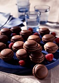 Chocolate and raspberry macaroons