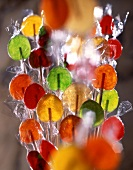 Colored fruit lollipops