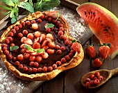 Chocolate and summer fruit brioche pastry tart