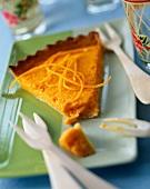 Slice of carrot and cardamom tart
