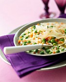 Carrot and pea risotto