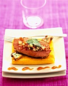 Veal liver on polenta
