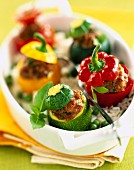 Stuffed baby peppers and courgettes