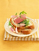 Boiled ham,courgette and radish open sandwich