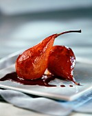 Pear poached in red wine