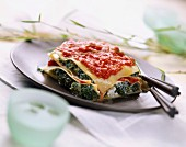 Broccoli and tomato lasagne