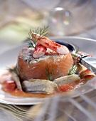 Smoked salmon Timbale with artichokes
