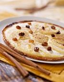 Thin apple and raisin tart