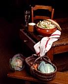 Sarthe chicken, rabbit, ham and cabbage hotpot