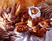 Arrangement of bread and pastries