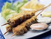Breaded mussel kebabs
