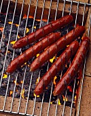 Merguez sausages on the barbecue