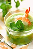 Chilled mint soup with prawns