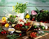 Composition of fresh vegetables on table