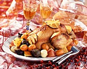 Capon with honey and citrus fruit