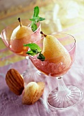 Pears poached in champagne with wine granita